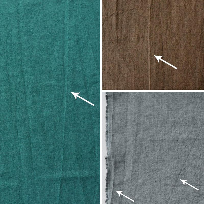 洗い加工の特性上、上記写真のような部分的に白く抜けた織りジワが発生する場合がございます。
