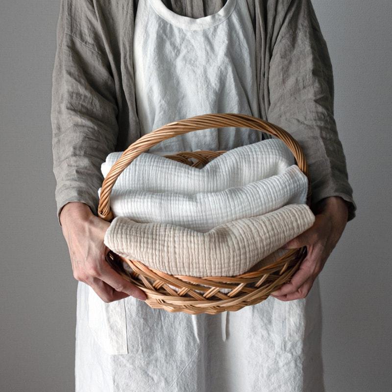 コットン6重織りガーゼ color:キナリ/ホワイト