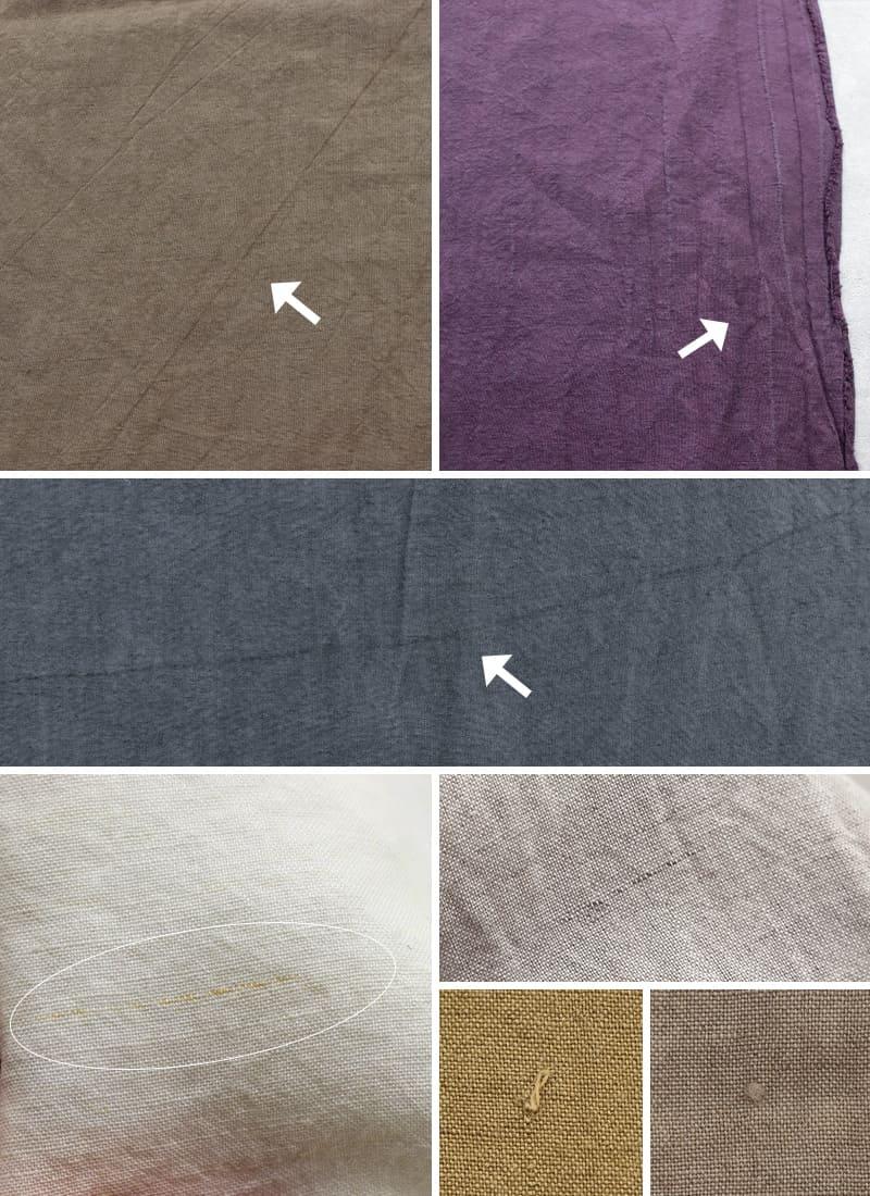 加工の特性上、上記画像のようなスジや耳シワ、ムラ、糸節、織りジワがございます。ご理解下さい。