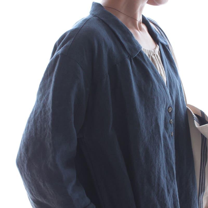 洗いこまれたベルギーリネン1/25番手 ナチュラルダイド スチールブルー