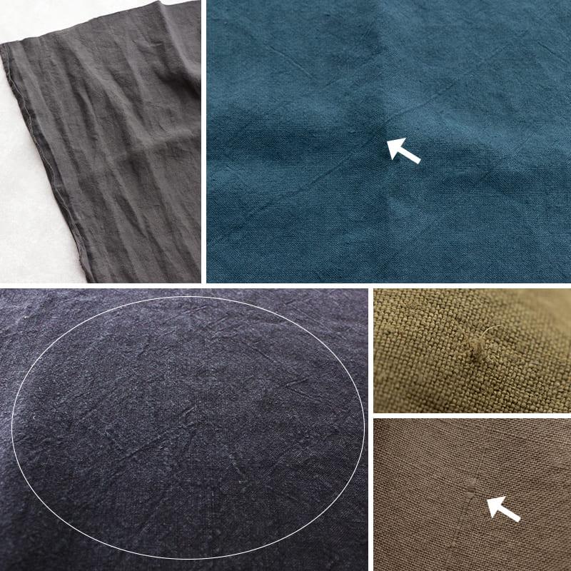 加工の特性上、上記画像のようなスジやムラ、織りジワがございます。不均一な濃淡の染ムラ、ランダムに白く色褪せたようなシワ感が出ております。