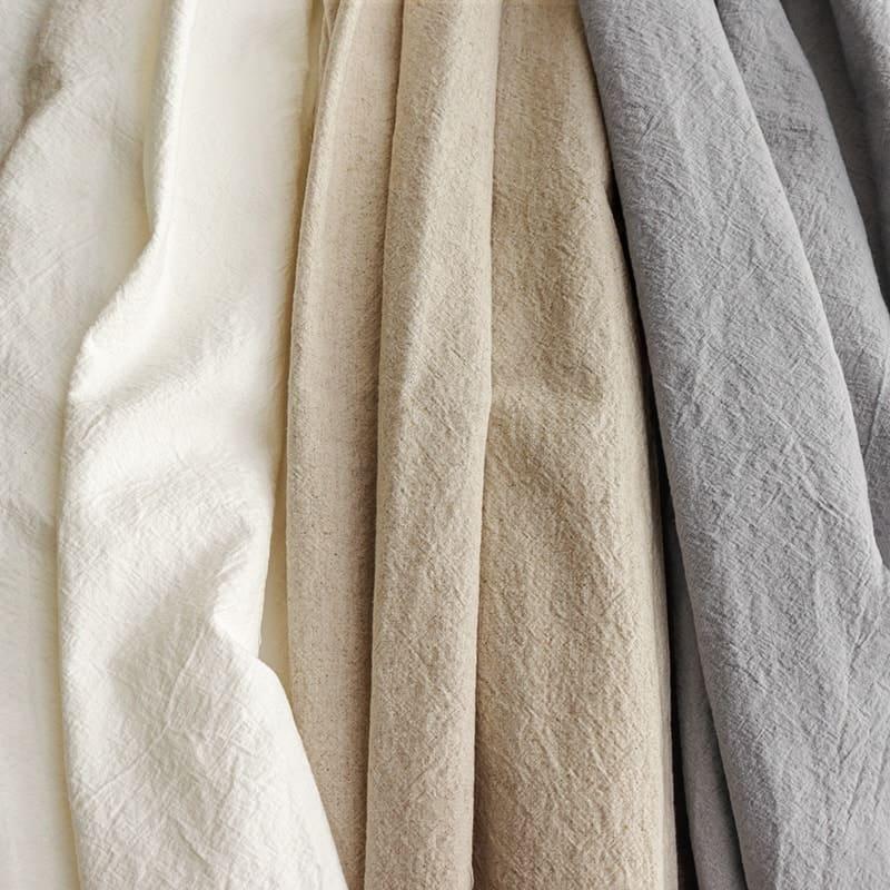 洗いこまれた綿麻キャンバス/オフホワイト/キナリ/ライトグレー
