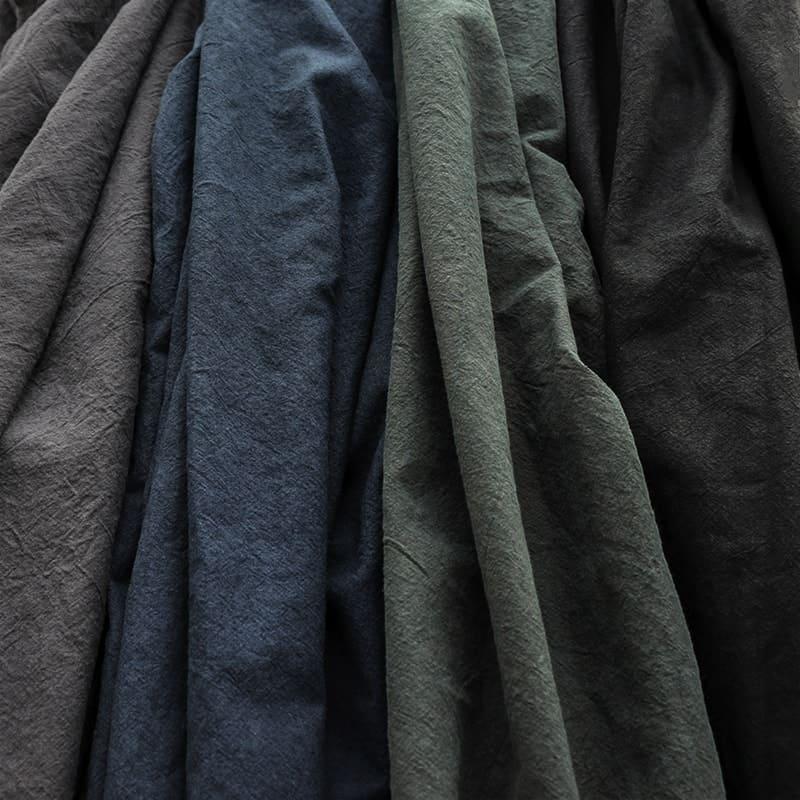 洗いこまれた綿麻キャンバス/ダークグレー/ネイビー/フォレストグリーン/ブラック