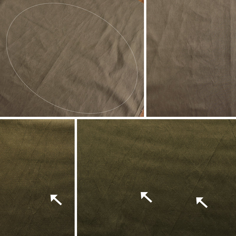 加工の特性上、画像のようなスジやムラ、織りジワがございます。ご理解下さい。