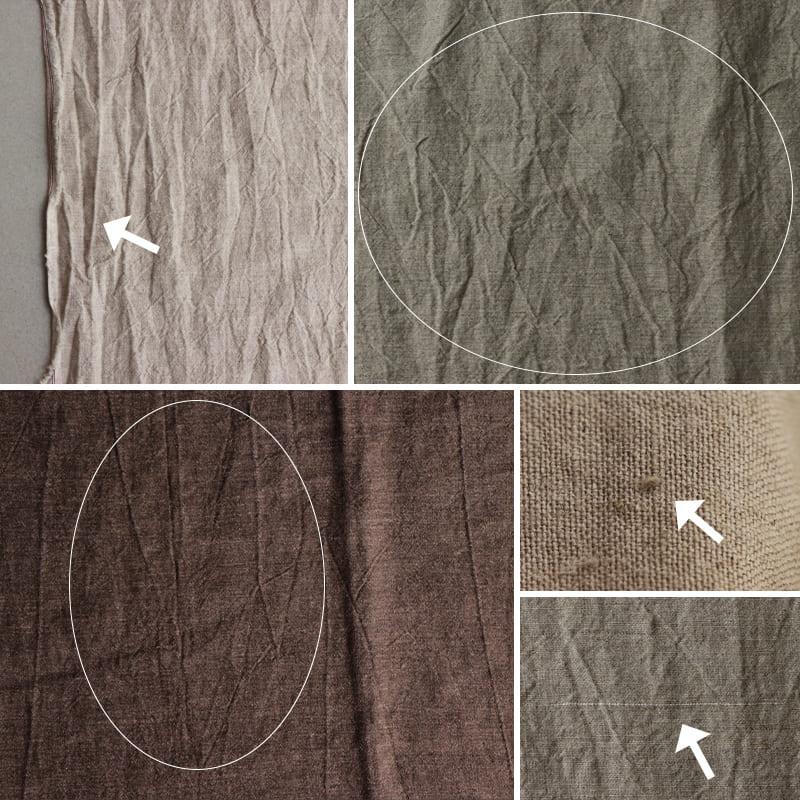 ※生地全体に織フシ(横方向に入る細いスジのような線)が見られますが、本加工の特徴です。