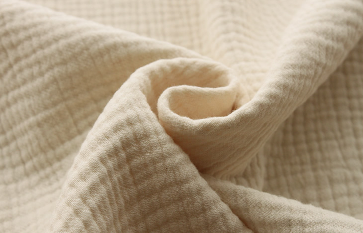 オリジナル6重織ガーゼ 生地の皺の寄り方